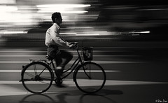 Need more speed [Explored #17] (/the DON/) Tags: guangzhou china light bw bike night lens nikon low transportation biker kit nikkor panning 1855mmvr d7000
