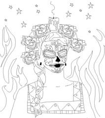 Smokey Ji face (Letartiste) Tags: roses woman hot newmexico girl fashion tattoo lady stars dayofthedead mexico worship candles candle smoke flames goth ceremony retro smoking flame smokin braid fridakhalo sylviaji spiritfire