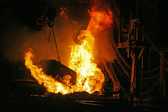 Adding Material to the Furnace - A Finkl and Sons Foundry (stormdog42) Tags: urban chicago foundry fire illinois industrial factory steel machinery flame furnace steelworks afinklandsons