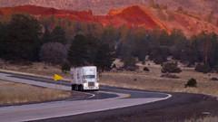 Red rocks behind a Truck (icu2loritzpics) Tags: scurve earlymorninglight flagstaffaz rockpit walnutcanyonroad diggingatearth