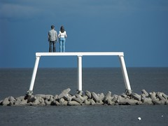 """The Couple"" (oildrum1) Tags: uk sea england sculpture woman man beach coast artist offshore northumberland human publicart lifesize figures thecouple bythesea seadefences newbigginbythesea wildaboutnorthumberland"