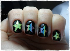 Rainbow Star - Nail Art de Estrelas (Francinii) Tags: star rainbow estrela nailpolish omg nailart holographic chinaglaze omgcollection hologrficos tapemani