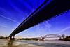 Robert F. Kennedy Bridge(Left) & Hell Gate Bridge(Right) over East River (Yohsuke_NIKON_Japan) Tags: nyc bridge usa newyork architecture nikon sigma bluesky eastriver アメリカ 橋 hellgatebridge 10mm ニューヨーク i278 青空 colorefex イーストリバー robertfkennedybridge d3100