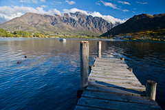The dock behind our hotel (Kalabird) Tags: new lake mountains zealand southisland otago frankton lakewakitipu