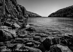 Rock Valley (Sandro Gambin) Tags: sea costa white seascape beach water canon bay coast rocks mare valle malta cliffs balck valley acqua gozo 40d mygearandme