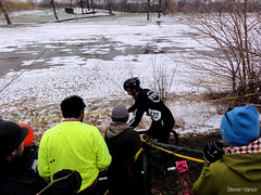 Racing with a cargo bike is difficult (Steven Vance) Tags: winter snow chicago bike race bicycling bicicleta racing bikeracing humboldtpark vlo cyclocross afterglow