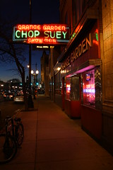 Chop Suey (Flint Foto Factory) Tags: city autumn winter light urban food chicago reflection fall classic bicycle sign night vintage restaurant evening neon december glow nocturnal sunday north chinese historic sidewalk storefront glowing bluehour chopsuey damen ravenswood 2011 irvingparkrd orangegarden straightoutofthecamera sooc straightoutofcamera