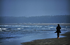 Life is Blue.. (Ferdousi.) Tags: blue sea girl alone lonely bangladesh chittagong bayofbengal seabeach coxsbazar ferdousi lifeisblue longestbeach nikond300s zynah