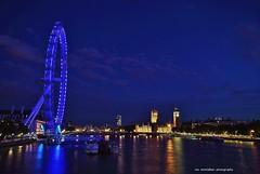 blue ... revisited (Rex Montalban Photography) Tags: blue england london night europe londoneye hungerfordbridge rexmontalbanphotography