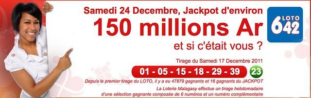 Jackpot Loto 6/42 du samedi 24 décembre 2011