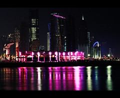 Corniche (novemberfly) Tags: 2 portrait motion blur reflection digital canon landscape photography 50mm lights long exposure december day bokeh mark national ii 5d 12 18 independence mk qatar heartstrings aperature 2011 cruelnovember