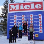J1 Podium Miele Cup GS - Stephane Gartner (1st J1) and Mia Henry (3rd J1), both from Fernie Alpine Ski Team.  Also in photo are Jan Heck, CEO of Miele Canada and his son. PHOTO CREDIT: Gregor Druzina