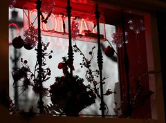 Decorated window (mennomenno.) Tags: window christmasdecoration piercings raam tatooshop kerstdecoratie nietvoormij