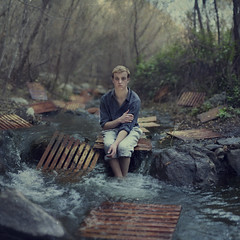 Something. (David Talley) Tags: water shirt creek forest river hair woods pants canyon stop beatles newyears pallets crates thebeatles rushing 365project davidtalley