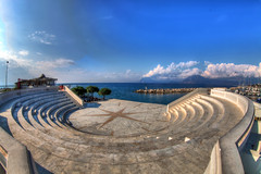 / little theater at Patras (dtsortanidis) Tags: blue summer sky art clouds canon theater mark fisheye greece ii 5d mm marble ef hdr 815 gettyimages dimitris patras realistic patra dimitrios flickrduel   tsortanidis