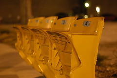 Nikon D100 - Refurbished Stadium Seats, Now A Bus Stop (Brandon Chitwood. Photography) Tags: from new city light urban bus yellow 50mm lights this view baseball photos bokeh stadium or indianapolis empty 4 capital creative culture indy indiana historic stop ave seats transit 1234 everyone growing member af pup mass nikkor recycle seating development buschstadium ballpark 118 reuse polis innovative naptown napolis indygo peopleforurbanprogress pfup urbanindy indianaptown seatsstadium seatingbush seatsrefurbished seatingreusebus seatingindygoindygo stopindygo seatingreuse seatingarchitecturebuildingscity scenecityscapelamp postsidewalk seatingalabama idygo