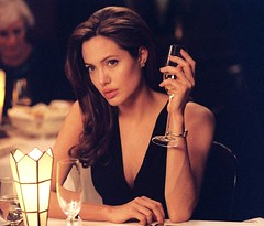 (Office232) Tags: 2005 light woman black hot cute sexy film glass beautiful face hair neck movie table restaurant athletic high still chair pretty dress wine body jaw champagne young www lips full angie angelinajolie american actress fancy actor angelina jolie youthful shoulders cheekbones build toned flick fit pouty mrandmrssmith mrmrssmith cheekbone