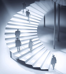 Illustration for annual report. Bank Forum 4 (amalgamka) Tags: people white art monochrome stairs paper paperart handmade cut craft cutting papercraft career