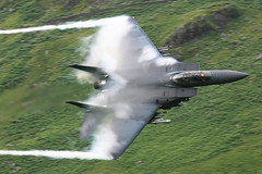 """Vapes and Streamers""....492nd FS Aircrew showing off (PhoenixFlyer2008) Tags: cloud wales canon eagle military jet fast steam strike boeing douglas mcdonnell lowlevel dolgellau lakenheath f15e machloop usafe vapes neilbates airteamcanoncouk"