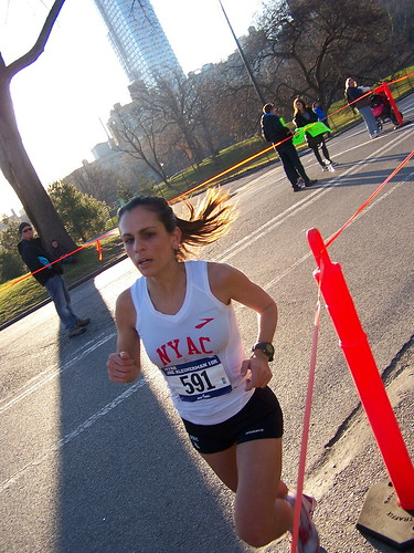 2012 saturday sat morning january 7 nyc ny new york road runners race 10 k km kilo kilometers 62 m mi miles endurance athlete athletic participant weekend speed clear sun sunny cp central park manhattan ues upper east side drive brooks shoe sneaker racing flats club nyac