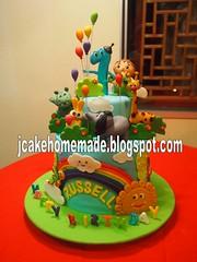 Baby TV birthday cake (Jcakehomemade) Tags: sun elephant rabbit butterfly rainbow balloon giraffe hippo toddlers infants firstbirthdaycake charactercake funcake fondantcake designercake 3dbirthdaycake wwwjcakehomemadeblogspotcom tvcartooncake jessicalaw babytvbirthdaycake customizedbirthdaycake childrennoveltycake babyhoodbirthdaycake charlieandnumber1 russellsbirthdaycake