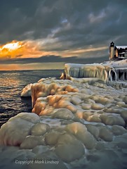 Ice Cold Shores (Happyhiker4) Tags: lighthouse ice lakemichigan youmakemyofficefeellikeaprison