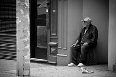 We Are All On Hold/ ...     (mohammadali) Tags: life street old city nyc newyorkcity trip summer vacation people bw usa ny newyork man canon us waiting alone streetphotography oldman stranger wait 5d sept   2011 onhold