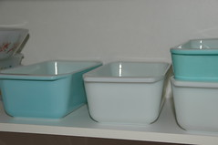 loaf pans (the_robins.nest) Tags: kitchen vintage turquoise retro loaf bake pyrex pans glasbake butterflygold opalglass horizonblue snowflakeblue