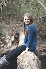 Gillian (olive demarest) Tags: tree nature water girl beautiful smile youth creek happy log pretty gorgeous gillian