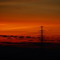 High Power Sunset (Pavlov-B) Tags: sunset sky silhouette zonsondergang energy thenetherlands powerlines groningen hoogspanning