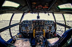 "C-46 ""The Tinker Belle"" Cockpit (Carolinadoug) Tags: plane airplane nc nikon interior aircraft northcarolina cockpit aeroplane fisheye monroe hdr commando topaz c46 photomatix curtisswright dougjohnson d700 topazadjust keqy"