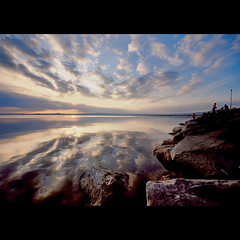 the rock of the fisherman (s@brina) Tags: sunset sea lake clouds reflections lago fisherman rocks nuvole mare pescatori lagodibolsena scoglio bestcapturesaoi elitegalleryaoi
