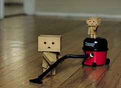 Never let it be said that a Danbo doesn't know how to earn his keep! (.OhSoBoHo) Tags: cute canon toy 50mm robot cleaning kawaii pearl favou