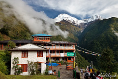 The only place with internet in the whole of Annapurna Conservation Area, Chhomrong (Michał Olszewski) Tags: nepal snow water clouds river asia valley land teahouse himalayas guesthouse acap chhomrong gandaki kaski commercialbuildings annapurnahimal annapurnaconservationarea geographicalfeatures annapurnaconservationareaproject patalhiunchuli chhomrongkhola annapurnasouth7219m hiunchuli6441m