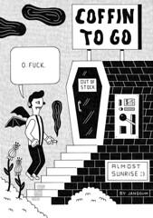 COFFIN TO GO (mister_jangojim) Tags: blackandwhite zine illustration sunrise wings fuck vampire machine dracula coffin coffeetogo automaat vendormachine