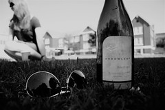 summer time and the livin's easy (aaronleevani) Tags: summer blackandwhite canada sunglasses vancouver canon blackwhite dof bc wine bokeh kits kitsilano whitewine arrowleaf rebelxsi