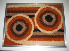 Panton era Rya Rug Wall Hanging (Our Thrift Apt.) Tags: orange art home vintage mod 60s handmade retro collection chrome 70s hanging collectible atomic groovy rare flowerpower colombo panton wallhanging 70shome shaghome