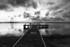 The Little Jetty [Explored] (The0dora Photography) Tags: blue blackandwhite lake clouds grey pier belmont jetty sigma1020 squidsink canon7d dorcam16