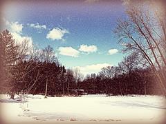 Snowy day at the Pond (bjebie) Tags: trees winter ohio sky snow nature clouds pond portagecountyohio mogadoreohio