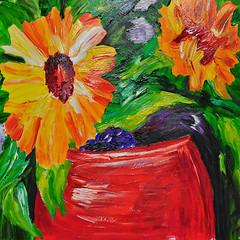 Kim's Fast Finish (BKHagar *Kim*) Tags: flowers red art floral yellow painting artwork paint acrylic sunflowers sharing shared crock withmom artday bkhagar