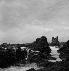 Cathedral Rocks (Colin_Bates) Tags: bw film rolleiflex rocks cathedral hp5 kiama ilford 400iso 35f
