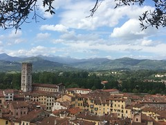 Looking out over Lucca and the mountains (markshephard800) Tags: italy mountains tower clouds italia torre lucca tuscany toscana italie guinigitower
