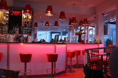 Hoylake (davidtimms86) Tags: red bar canon eos restaurant mirror chairs bottles iii efs1855mm tables carlo monte barstools dslr hoylake f3556 thewirral 1200d