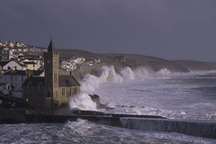 Storm Imogen sweeps over the British Isles (atlasphotoarchive) Tags: uk ireland winter england cloud storm rain weather wales scotland big flooding europe cornwall waves britishisles flood unitedkingdom britain extreme large wave front system clocktower rainy northernireland february feb northern storms atlanticocean climatechange 8th floods meterology 08 2016 porthleven northatlanticocean lowpressure hightides stormimogen