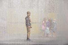 Water feature on The Embankment, London (tim jg photography) Tags: girls boy london wet water fountain girl smiling kids children fun happy waterfall play group spray colourful dressed embankment waterspray capitalcity theembankment