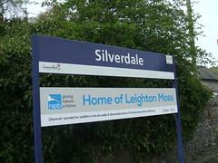 Silverdale Railway Station Lancashire. (Bennydorm) Tags: blue england sign rail railway lancashire railwaystation signage blueandwhite silverdale rspb leightonmoss