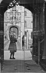 (frscspd) Tags: cambridge reflection film me window architecture marina mirror pentax corpuschristi chapel stainedglass xp2 lookingglass ilfordxp2 corpus ilford stainedglasswindow wilkins filmgrain selfie pentaxmx corpuschristicollege newcourt seeingthrough williamwilkins corpuschristichapel ilfordxp2400bw 20160304 31030004