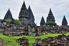 Prambanan Hindu Temple (Infinite Legends) Tags: world building architecture canon indonesia wonder landscape temple eos volcano ancient asia drawing south carving east southeast yogyakarta hindu hdr carvings merapi prambanan archaelogy 70d