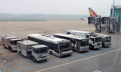 Cobus 3000 with Daewoo buses and trucks at Incheon Airport (mj.barbour) Tags: bus truck airport daewoo 3000 incheon cobus