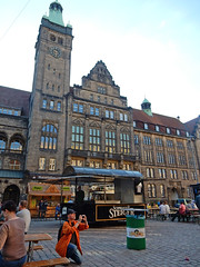 Town's Hall with Beer Festival (Antropoturista) Tags: street people germany square cobblestones rathaus beerfestival chemnitz townshall